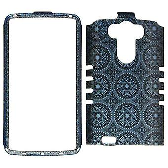 Rocker Series Snap-On Protector Case for LG G3 (Trans Design/Blue Circular Patte