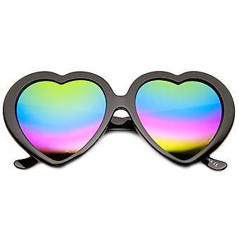 Womens Oversized Rainbow Color Mirror Lens Heart Shape Sunglasses