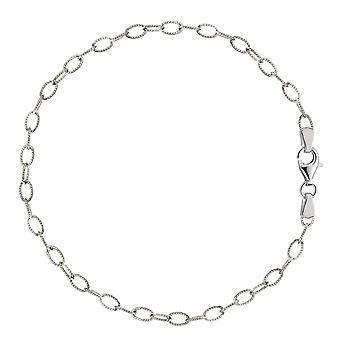 Овальные витой кабель ссылка ножной браслет из серебра