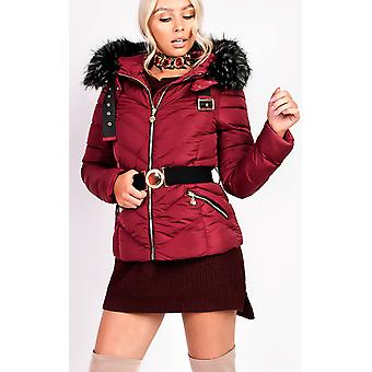 IKRUSH Womens Elisia Padded Faux Fur Hooded Belted Jacket
