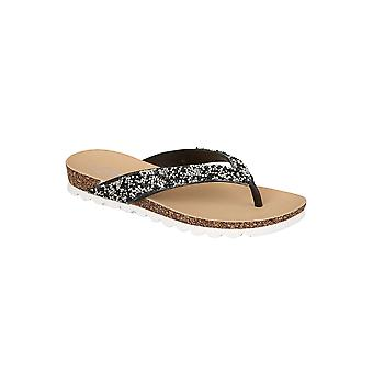 Ladies Diamante Jewel Encrusted Strap Cork Contrast Sole Flat Toe Post Sandals