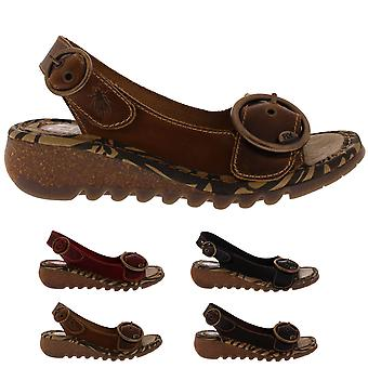 e549a58e1808 Womens Fly London Tram Bridle Summer Leather Wedge Heel Open Toe Shoes