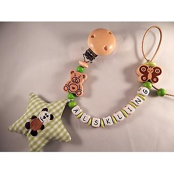 Pacifier holder in wood Design No 12, with the text