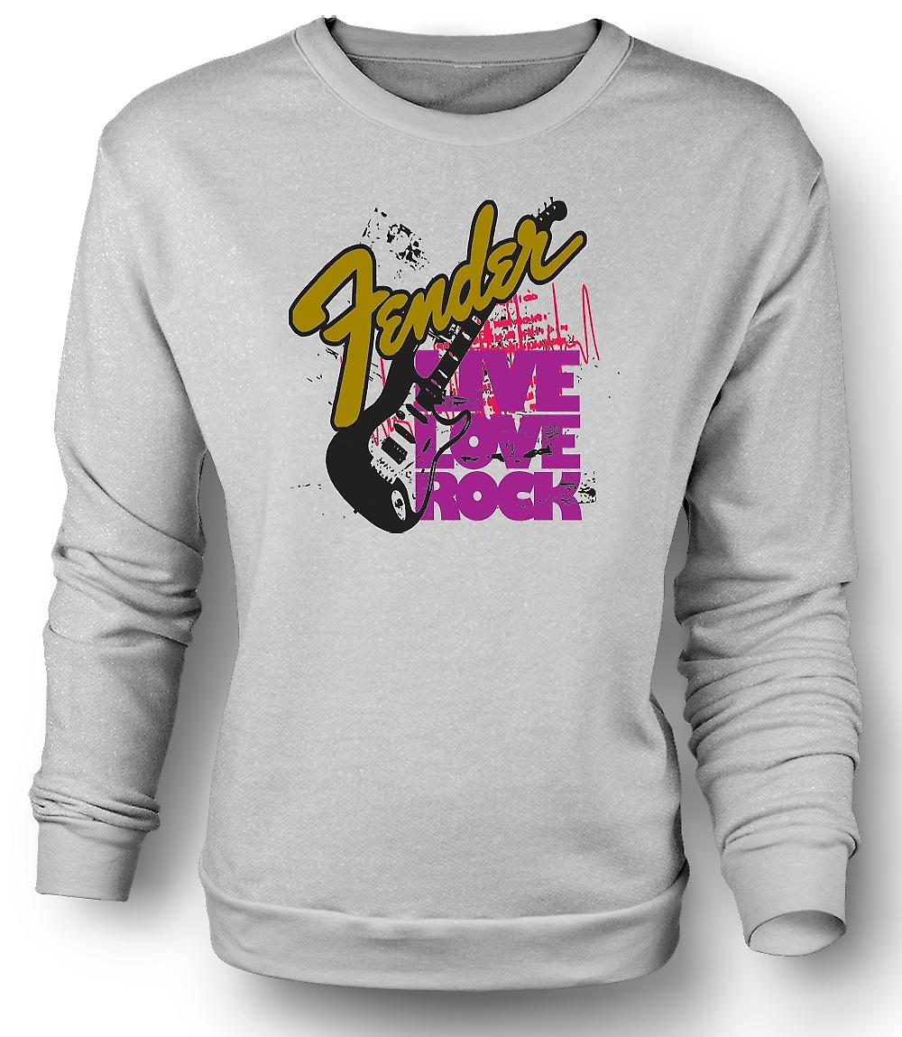Mens Sweatshirt Fender Live Love Strat Guitar
