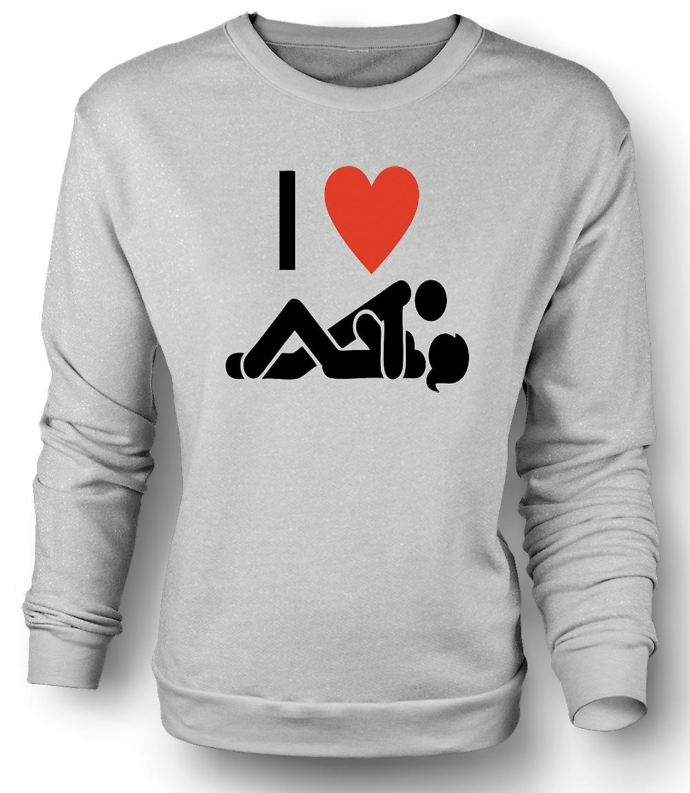 Mens Sweatshirt I love Heart Sex - Funny