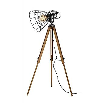 Lucide Joshua Xl Cottage Triangle Metal Black And Light Wood Floor Lamp