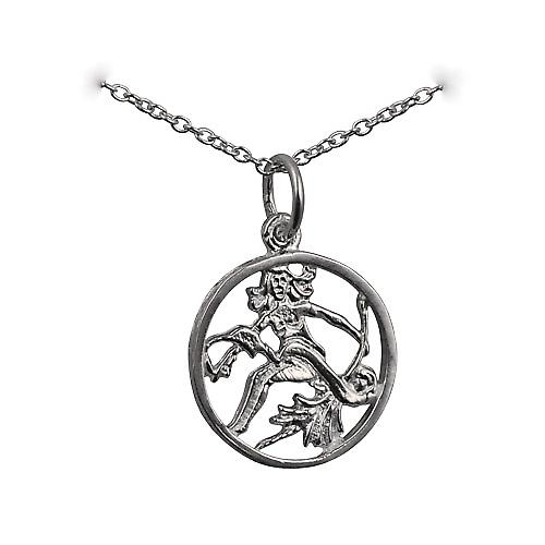 Silver 11mm pierced Virgo Zodiac Pendant with rolo chain