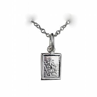 Silver 8x6mm rectangular St Christopher Pendant with a rolo Chain 24 inches