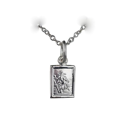 Silver 8x6mm rectangular St Christopher Pendant with a rolo chain