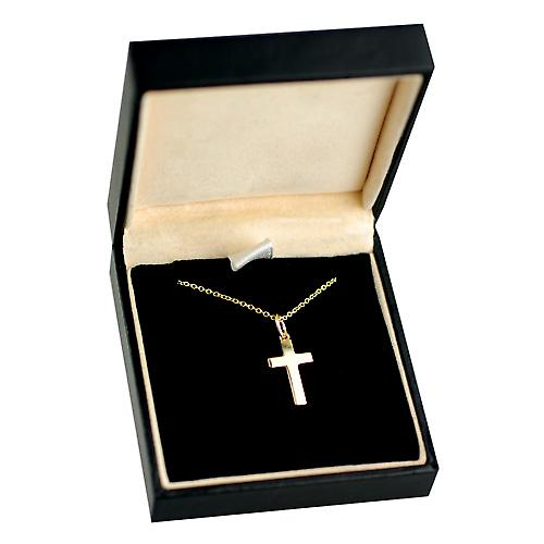 9ct Gold 17x10mm plain solid block Cross with a cable Chain 16 inches Only Suitable for Children