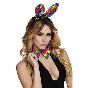 Womens Rainbow Lace Bunny Set Ears & Bow Tie Fancy Dress Accessory