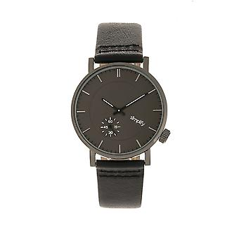 Simplify The 3600 Leather-Band Watch - Charcoal/Black