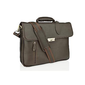 fa6557f6b7 Woodland Leather Large Brown Satchel Briefcase