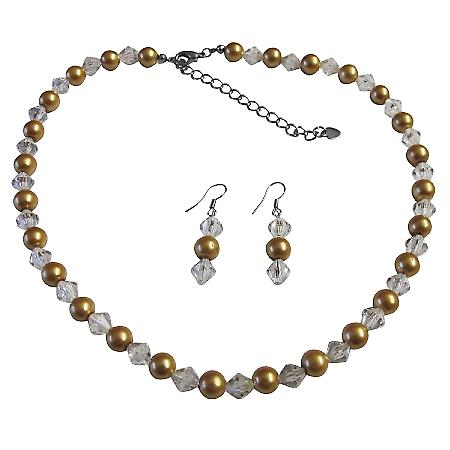 Clear Crystals Hazle Color Bridesmaid Jewlery Golden Pearl Faux Pearls & Chinese Crystals Dainty set