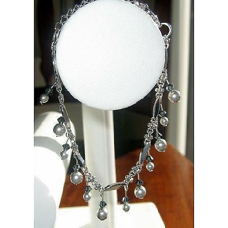 Vintage Style Light Grey Pearls Hanging Bracelet