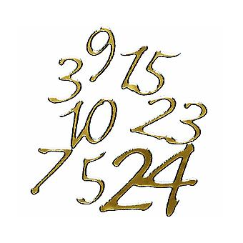 24 Gold Christmas Advent Calendar Number Stickers for Crafts - Peel Offs Style