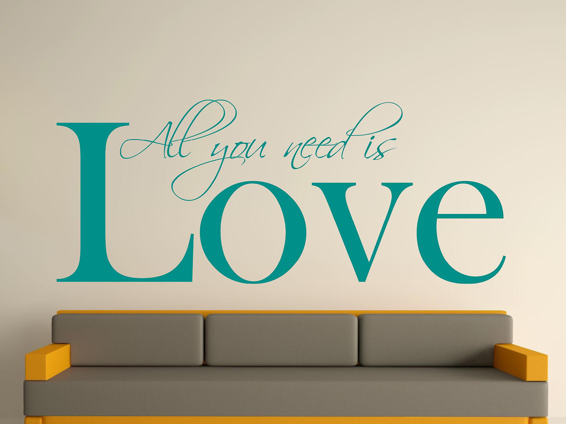 All You Need Art Wall Sticker - Aqua Vert