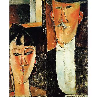 Mariée et le marié, Amedeo Modigliani, 50x40cm