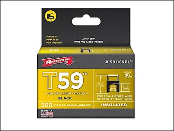 Arrow T59 Insulated Staples Black 8 x 8mm Box 300