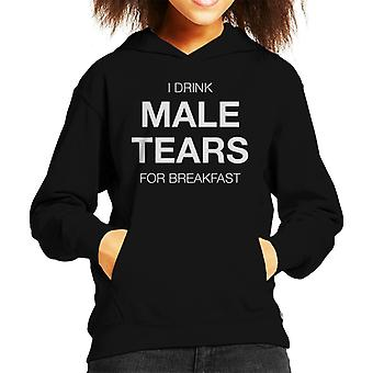 Anti Men I Drink Male Tears For Breakfast Kid's Hooded Sweatshirt