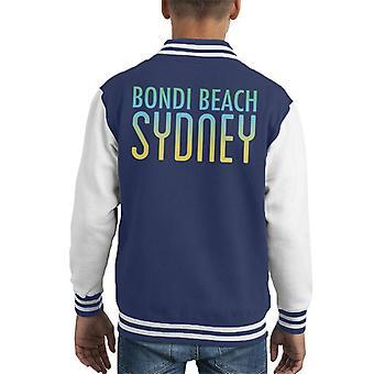 Bondi Beach Sunny Sky Text Kid's Varsity Jacket