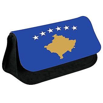 Kosovo Flag Printed Design Pencil Case for Stationary/Cosmetic - 0090 (Black) by i-Tronixs