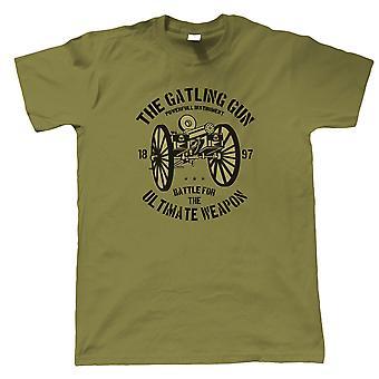Gatling Gun Mens T-Shirt | Armén Medic kriget bekämpa Warfare soldat styrkor beväpnade | Missil eldkraft explosiva vapen Ammunition Gun | Militära gåva honom pappa