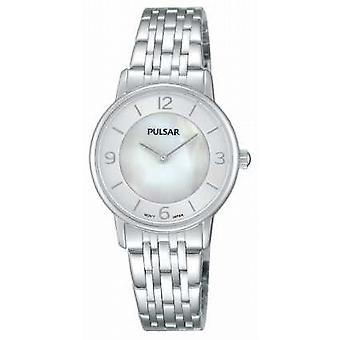 Pulsar Womens Stainless Steel Mother Of Pearl Dial PRW025X1 Watch