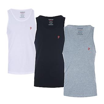 Mens Farah Vestu 3 Pack Vests In Black/Grey/White- One Vest White, One Vest