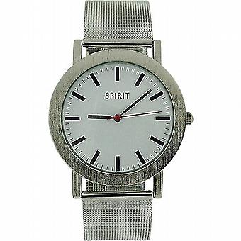Spirit Gents Analogue White Dial Silver Tone Mesh Fashion Watch ASPG12