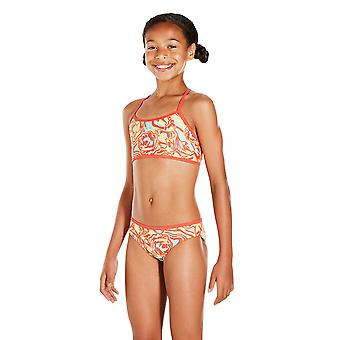Speedo Colourmelt Allover Crop Top 2 Piece Swimwear For Girls