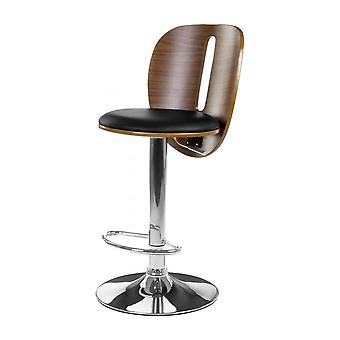 Fusion Living Black Faux Leather And Walnut Contemporary Bar Stool