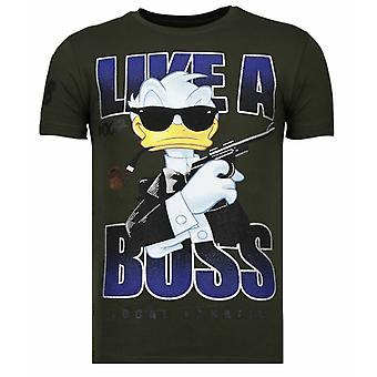 Som en Boss-rhinestone T-shirt-khaki