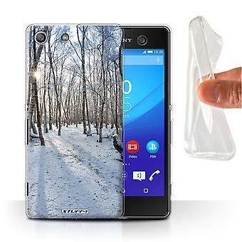 STUFF4 Gel/TPU Case/Cover for Sony Xperia M5/Snowy Forest/Winter Season