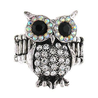 Silver and Crystal Owl Wise Stretchable Ring