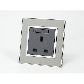 I LumoS AS Luxury Silver Satin Metal Single Switched with Neon Wall Plug 13A UK Sockets