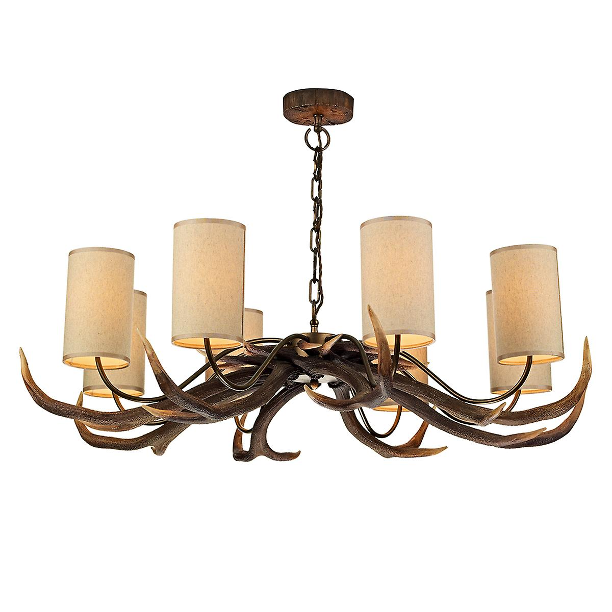 David Hunt ANT0829S Antler 8 Light Pendant In A Natural Rustic Finish - Shades Included