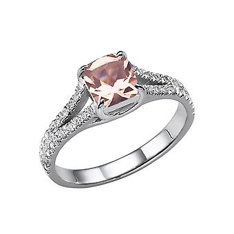 1,20 CTW naturlige fersken/Rosa VS Morganite Ring med diamanter 14k hvidguld Split skanken pude