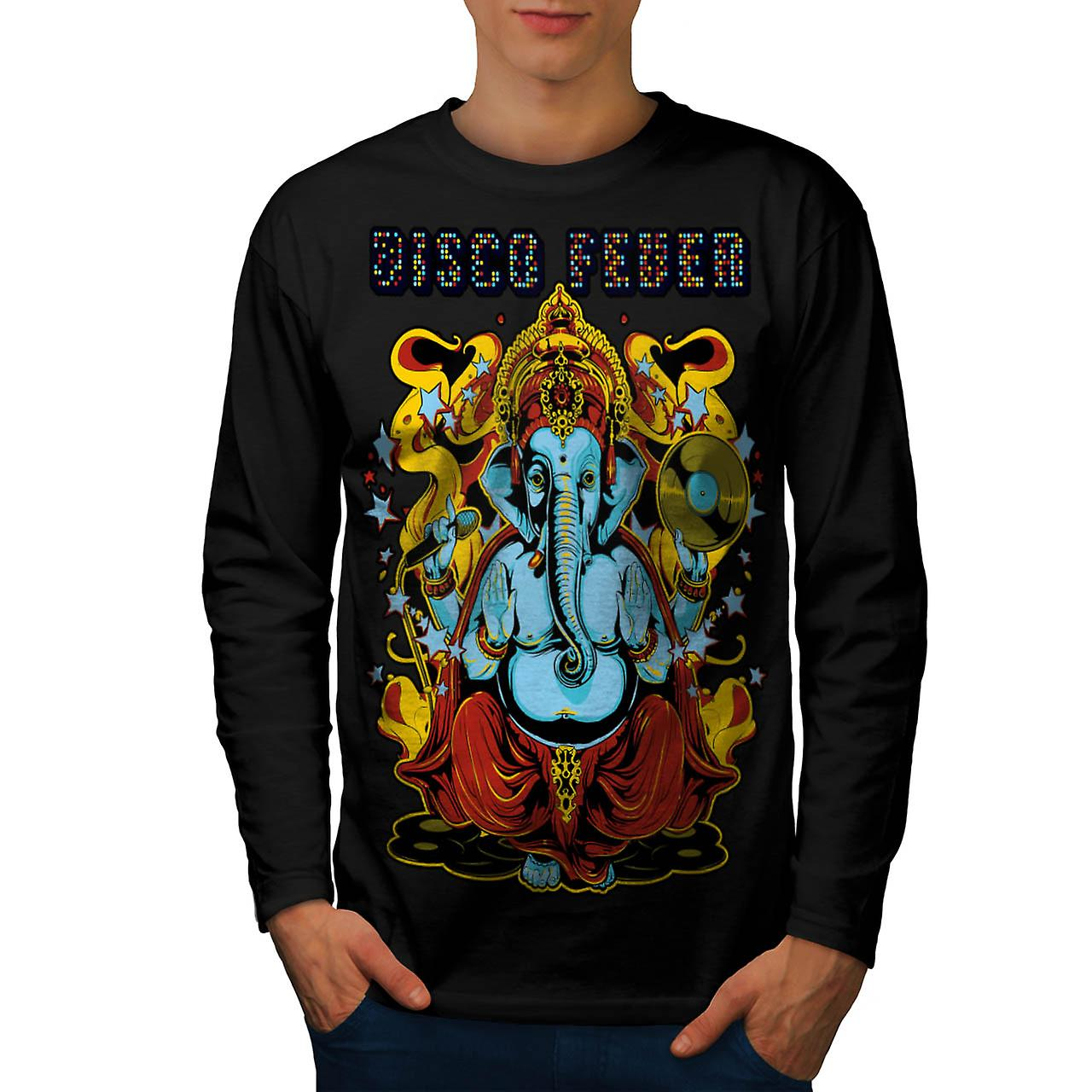 Disco Fever Elephant Ganesha God Men Black Long Sleeve T-shirt | Wellcoda