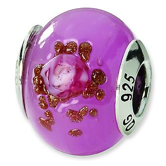 Sterling Silver Reflections Pink Red Brown Italian Murano Bead Charm