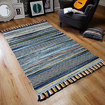 Kelim tapijten In Blauw gestreept