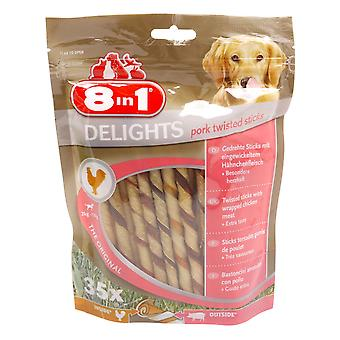 8in1 Dog Delights Pork Twist Sticks 190g (Pack of 5)