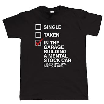 Vectorbomb, In The Garage Building A Mental Stock Car, Mens Funny Short Oval Racing T Shirt (S to 5XL)
