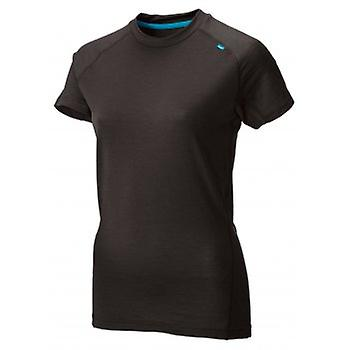 Base Elite 95 Short Sleeve Merino Base Layer Black/Turquoise Womens
