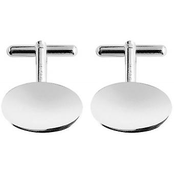 Orton West Silver Plated Oval Cufflinks - Silver