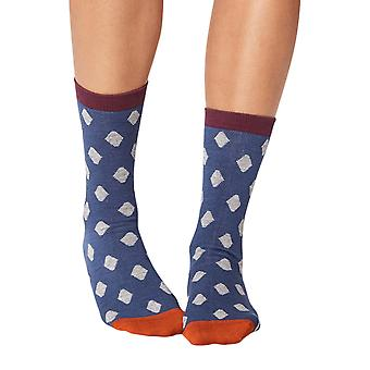 Greta women's super-soft bamboo crew socks in indgo   By Thought