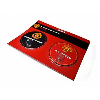 Manchester United FC Official Football Robe Hook Sign (Pack Of 2)