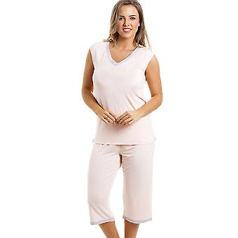 Camille Stylish Cropped Leg Sleeveless Peach Pyjama Set