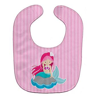 Carolines Treasures  BB8832BIB Beach Mermaid Pink Hair Baby Bib
