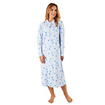 Slenderella ND8112 Women's Blue Floral Cotton Night Gown Long Sleeve Nightdress